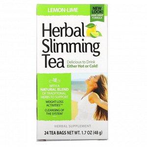 21st Century, Травяной чай для похудения, лимон и лайм, без кофеина, 24 чайных пакетика, 1,7 унции (48 г)