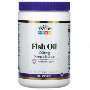 21st Century, рыбий жир, 1000 мг, 300 капсул