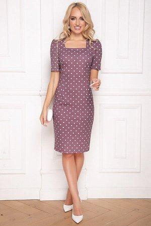 Платье Платье футляр из трикотажного полотна с вырезом каре. 30% вискоза 65% п/э,5% эластан