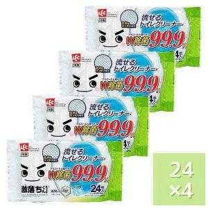 Влажные салфетки для обработки унитаза (водорастворимые, спиртосодержащие, с антибактериальным эффектом, аромат мыла) 250 мм х 160 мм, 24 штуки х 4