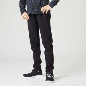 Спортивные брюки с карманами на молнии для мальчиков черные DOMYOS