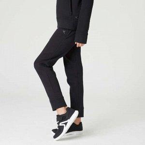 Спортивные брюки с карманами на молнии для девочек черные DOMYOS