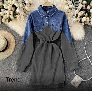 Платье Ткань нежная джинсовка + креп