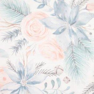 """Тюль с подхватом и ламбрекеном """"Christmas flowers"""" 250х200см. 100% п/э. вуаль"""