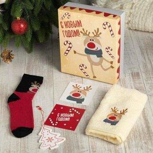 """Подарочный набор """"С новым годом"""" полотенце 30х60 см и носки"""