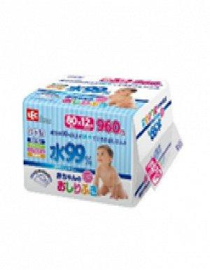 Детские влажные салфетки 180 х 150 мм, 80 штук х 12 упаковок / 4