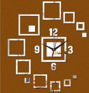 """Акриловые зеркальные настенные часы """"Square elements"""""""