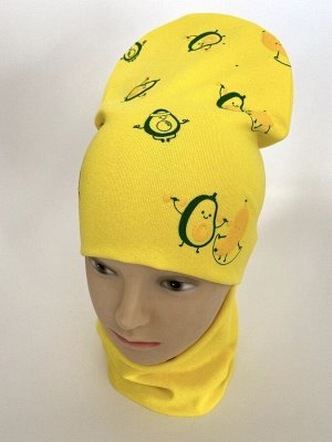 "Комплект трикотажный шапка+снуд желтого цвета ""Авокадо"""