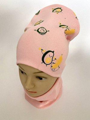 """Комплект трикотажный шапка+снуд светло-розового цвета """"Авокадо"""""""