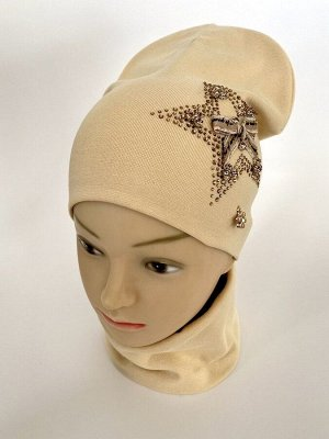 """Комплект из двойного трикотажа шапка+снуд """"Звезда"""" для девочек"""