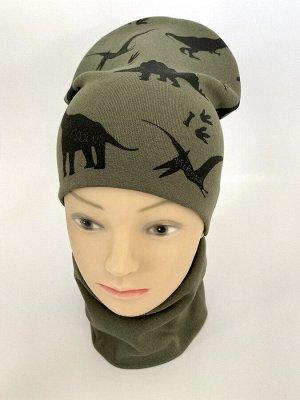 """Комплект трикотажный шапка+снуд """"Динозавры"""" цвета хаки"""