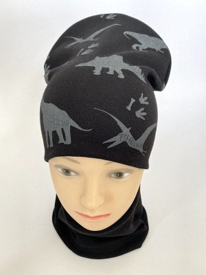 """Комплект трикотажный шапка+снуд """"Динозавры"""" черного цвета"""