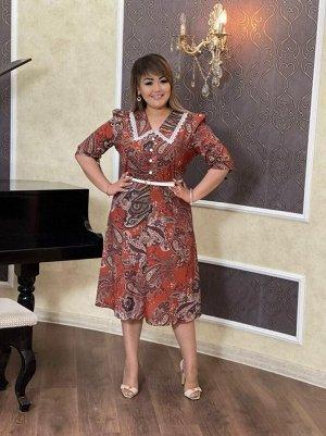 Платье Платье с отложным воротником Смотрится очень женственно Декорированные пуговицы🌺 На молнии сбоку➕Ремень в комплекте Стройный силуэт Ткань: турецкий москреп. Размеры:48,50,52,54 длина 116 см. 48
