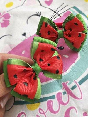 Бант Радость зеленый с красным арбузы