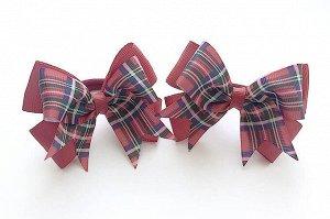 Бант для девочек Ассоль бордовый с бордовым шотландка