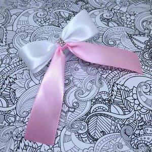 Бант для девочек Лицей розовый с белым