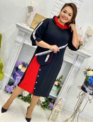 Платье Платье в стиле спорт-шик с капюшоном Оригинального фасона с карманом имитация поясной сумочки.  Ткань:Сингапур (хлопковая дышащая ткань)