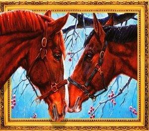 Алмазная мозаика 3D Влюбленные лошади