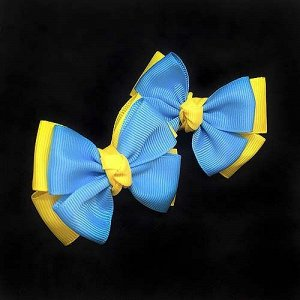 Бантик для волос Малышка желтый с голубым