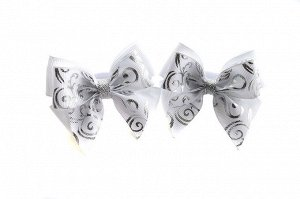 Бантик для волос Маруся белый серебро с узором