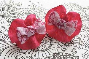 Детский бантик Анетт розовый с бабочками