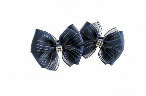 Бантик для волос Радость синий с синей органзой в полоску