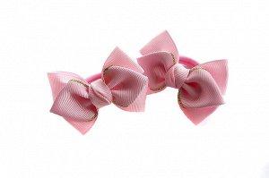 Бантик для девочек Нарспи розовый с золотом