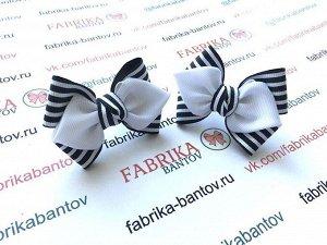 Бантик для девочек Нарспи черный с белым в полоску