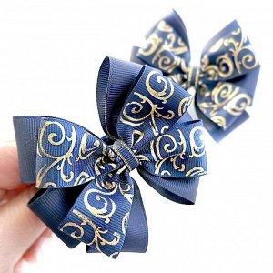 Бант для волос Ярослава синий с рисунком золото