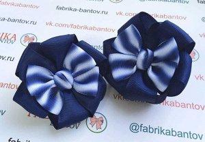 Бант для девочек Жанетт синий с волнами