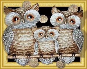 Алмазная мозаика 3D Семейка сов