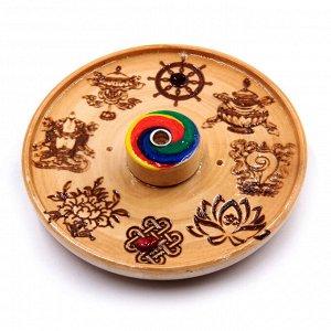 """Подставка под благовония """"8 символов Буддизма - исполняет самые заветные желания"""" 11 см Россия"""