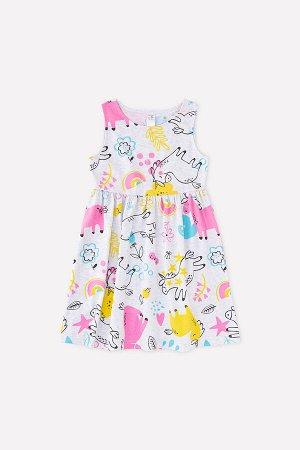 Платье(Весна-Лето)+girls (св.серый меланж, единороги и цветы к1268)