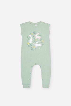 Полукомбинезон(Весна-Лето)+baby (пастельно-зеленый(зайчики в цветах))