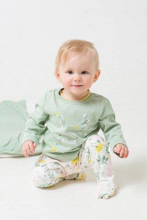 Джемпер(Весна-Лето)+baby (пастельно-зеленый(зайчики в цветах))