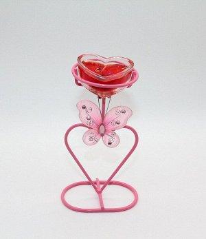 Свеча гелевая Сердце с бабочкой 845125 на подставке красная
