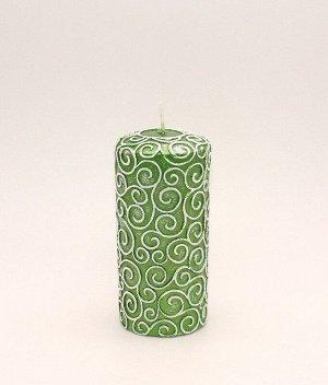 Свеча Пенёк Узорный Зелёный 1524