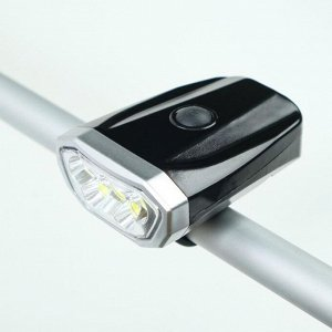 Фонарь велосипедный аккумуляторный 1 Вт, 600 мАч, 1+5 led, зарядка USB, 4 режима