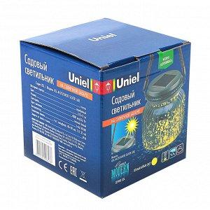Садовый светильник на солнечной батарее Uniel, сереб. корп., 11х11х11 см, IP44, Теплый белый