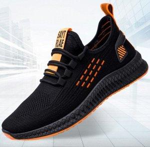 """Мужские кроссовки, принт """"оранжевый пунктир"""", цвет черный"""