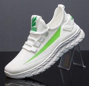 Кроссовки унисекс, цвет белый, зеленая полоса