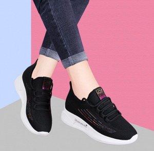 Женские кроссовки, радужные полосы, цвет черный