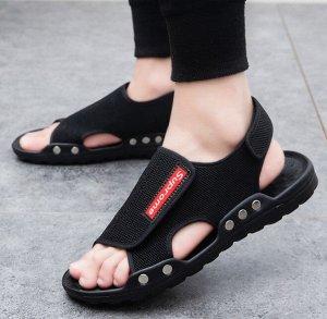 Мужские сандалии с надписью, цвет черный