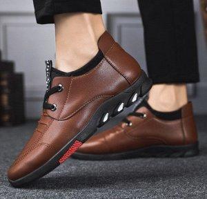 Мужские туфли, цвет коричневый, красная вставка на подошве