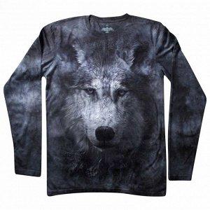 Мужская футболка с длинным рукавом Волк серый KP 189