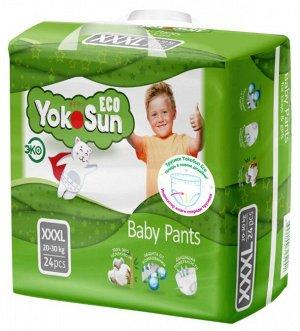 Одноразовые детские подгузники-трусики YokoSun Eco размер XXXL (20-30 кг), 4/24 шт.