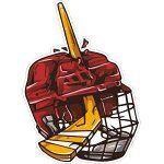 Хоккейная клюшка воткнутая в шлем