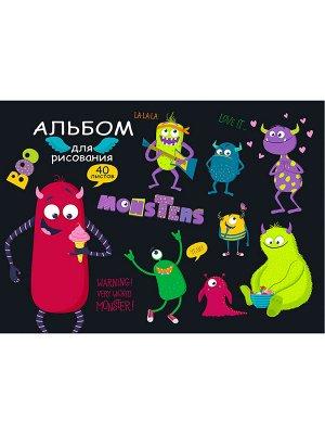"""Альбом для рисования А4 40л ТМ""""Profit Монстрики скр,обл-офс., 40-5397"""