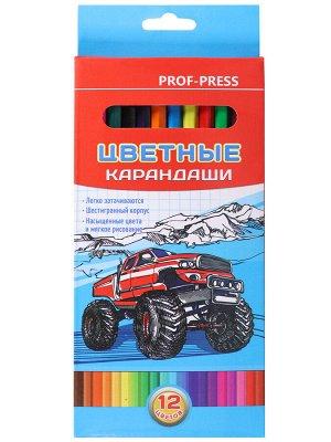 Карандаши цветные,набор,гексаг.12цв. Авто (гриф.d=2,8мм)  КЦ-8383