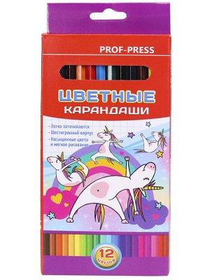 Карандаши цветные,набор,гексаг.12цв. Единорог (гриф.d=2,8мм)  КЦ-8385